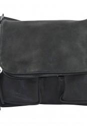 Sortgrå taske med 2 forlommer og lynlås i PU materiale