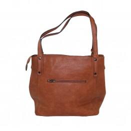 Klassisk taske i kernelæder look med to rum i