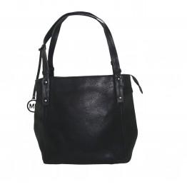 Klassisk taske i krakeleret læderlook med to rum i.