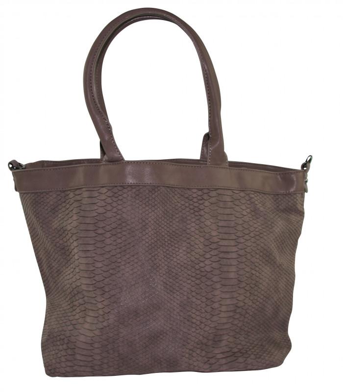 Taske i snakelook i PU materiale