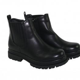 Sort støvle med elastik og lynlås