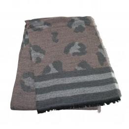 Halstørklæde med print i uld lignende materiale