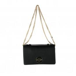 Sort taske med guldlås og kædehank