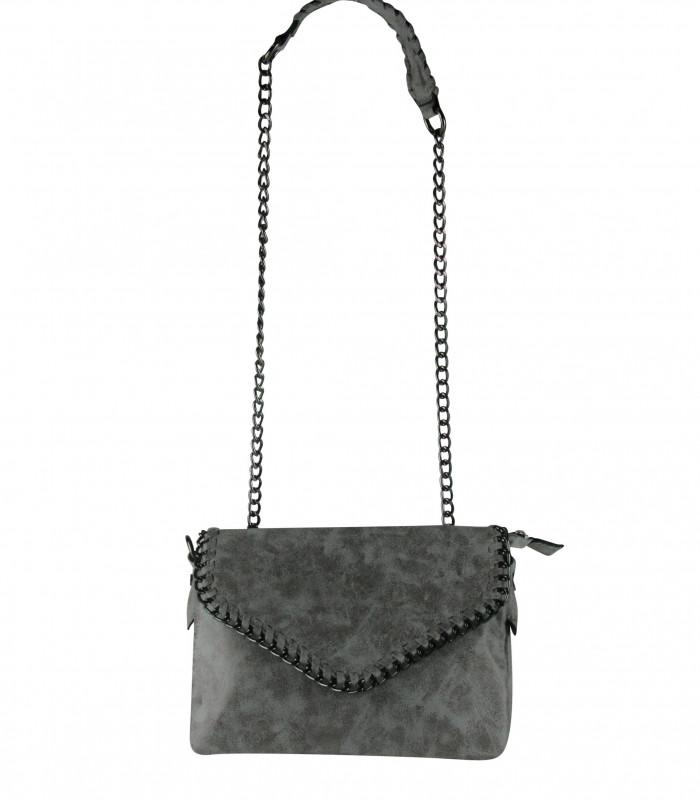 Grå kæde taske i krakeleret ruskinds lignende materiale