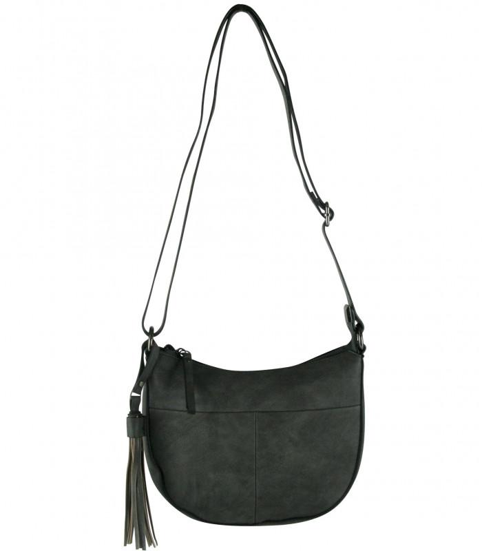 Sortgrå lille taske i krakeleret læderlook med pyntekvast