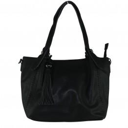Sort taske i krakeleret læderlook med stor pyntekvast
