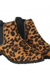Leopard støvletter med elastik og nitter
