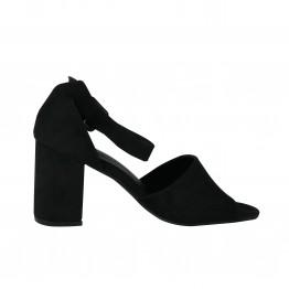 Sort peeptoe sko med chunky hæl
