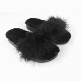 Tøfler med imiteret pels inden i og strudsefjer