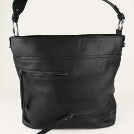 Fed taske i PU materiale med lynlåse foran