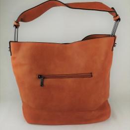 Fed taske i kerne læderlook med lynlåse foran