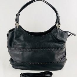 Taske i metallic læderlook