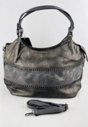 Taske i brunlig metallic læderlook