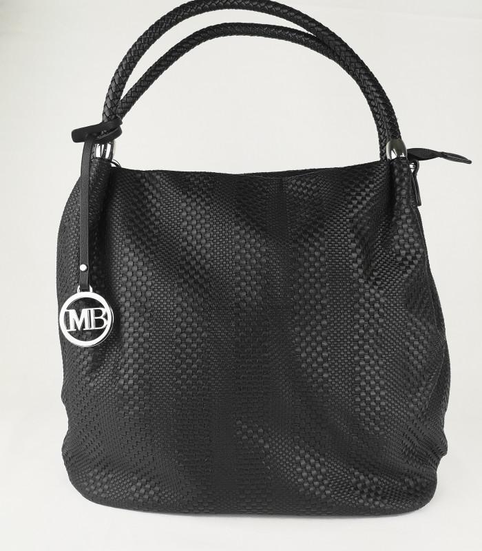 Sort taske med flet detaljer i PU materiale