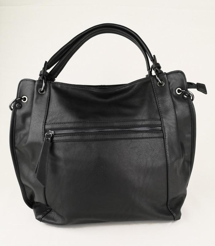 Fed taske i sort læderlook