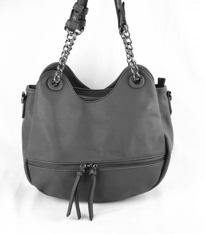 Mørkegrå taske i krakeleret læderlook