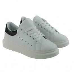 Hvide sneakers med sort detalje