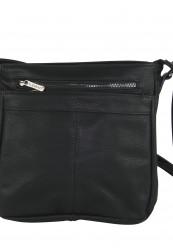 Sort taske i krakeleret læderlook