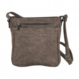 Brunlig taske i krakeleret læderlook