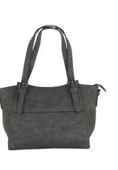 Sortgrå taske i krakeleret læderlook