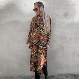 Mønstret kjole med bindebånd