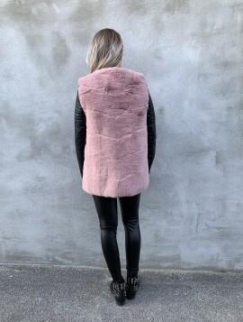 Faux fur vest i rosa