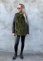Grøn faux fur vest