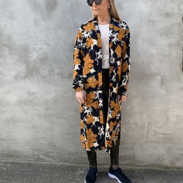 Kimono blå med print