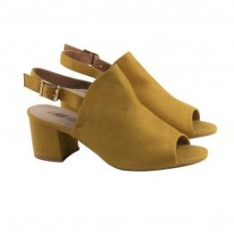 Gul Slip in sandal med blokhæl