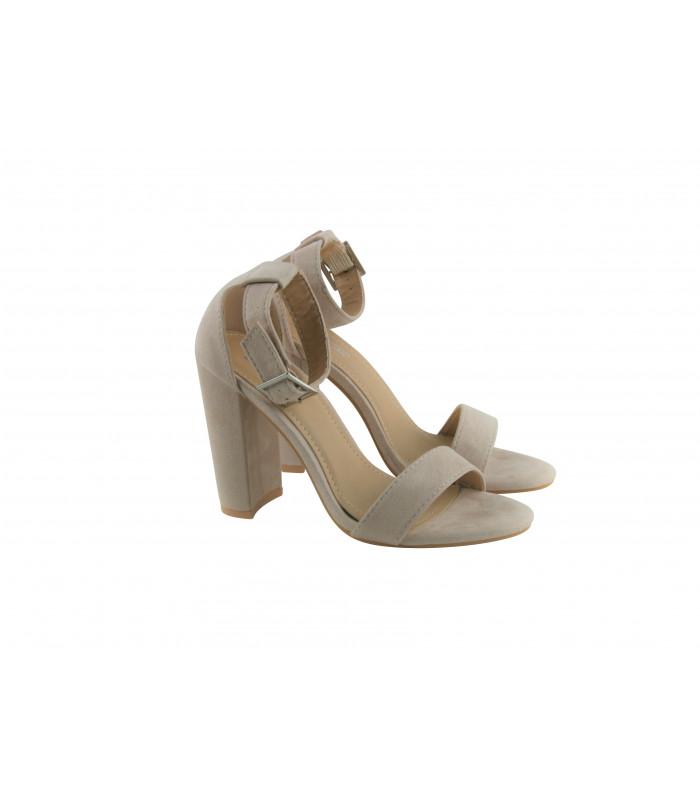 54f14e6b Beige sandal med høj hæl | Gratis returlabel | Køb billigt her