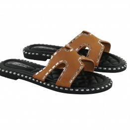 Camel slip in sandal med sten