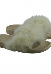 Beige fluffy pels slippers