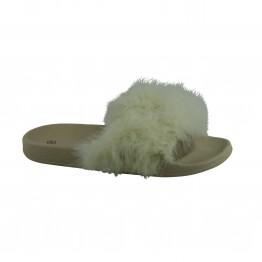 Beige fluffy pels slippers