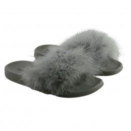 Grå fluffy pels slippers