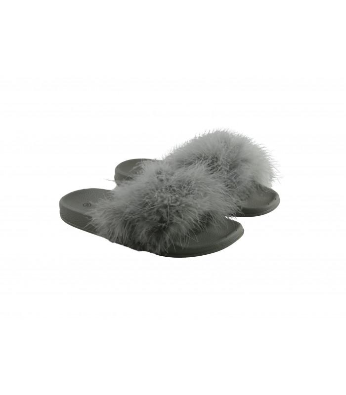 Grå fluffy pels slippers