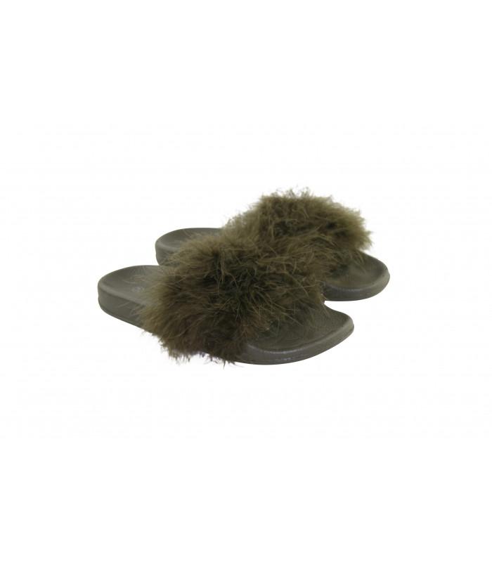 Grøn fluffy pels slippers