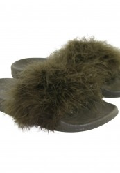Grøn fluffy pels slippers