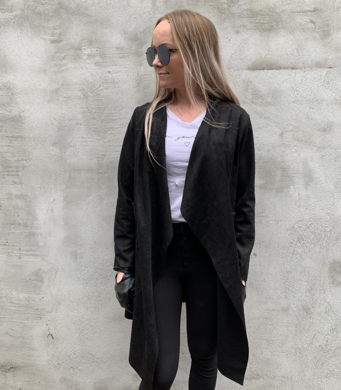 Sort blazer i ruskindslook