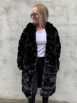 Lang faux fur coat med hætte