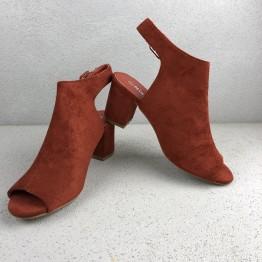 Peptoe sandal med blokhæl