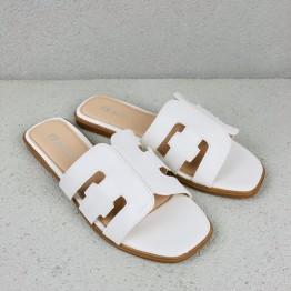 Hvid Slip In Sandal