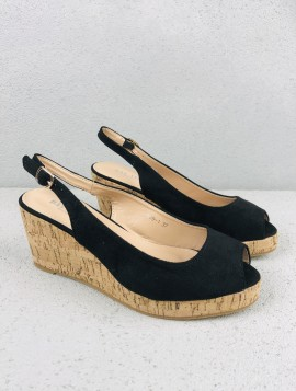 Sort plateau sandal