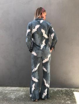 Jakke med fugle print