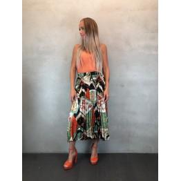 Multifarvet plisseret nederdel i satin look