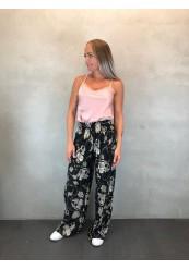 Sorte plisseret bukser med kæde print
