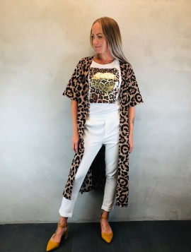 b. young Kimono med leopartprint