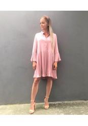 Rosa plisseret kjole i satin look