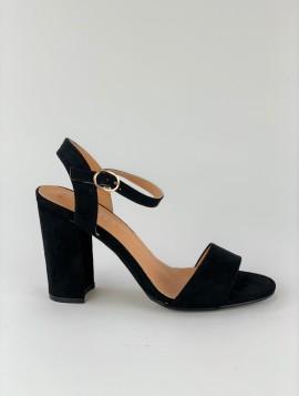 Sort sandal med hæl