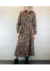 b.young lang skjortekjole i leopard print med bindebånd