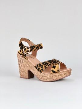 Leopard Sandal med Kilehæl